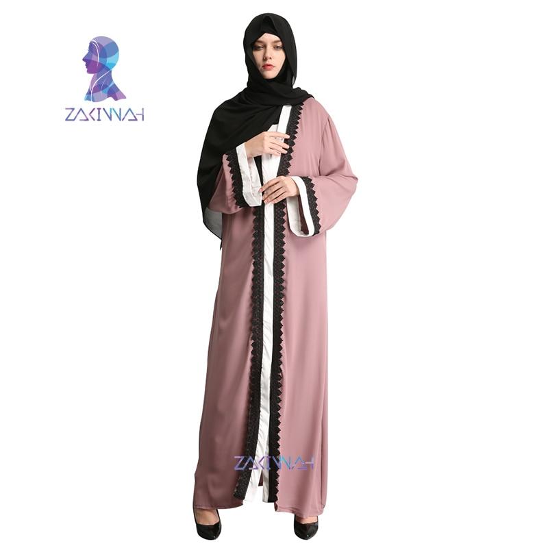 a268fe36f1cca4d Zakiyyah мусульманских Для женщин модные Robe Adult emboridery кружева  хлопок одежда мусульмане Турецкая абайа мусульманский жакет