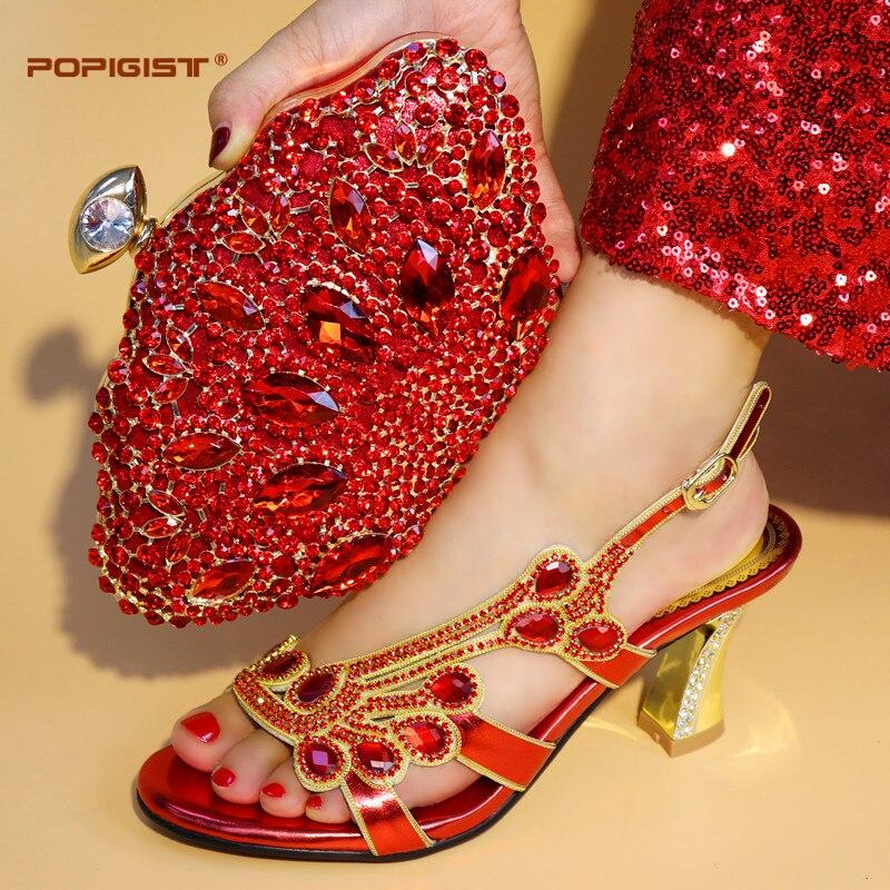red Bolsa Rojo La gold Y Para Italiano Blue Royal Nigeriano Emparejar Bolso Del Zapatos Boda Partido Color Juego De purple Hwxzqvz
