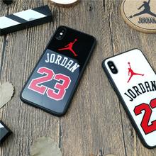 Tempered glass Sports Jordan 23 case for iphone X XS MAX XR 10 8 7 6 6s plus luxury hard plastic phone cover 8plus coque fundas