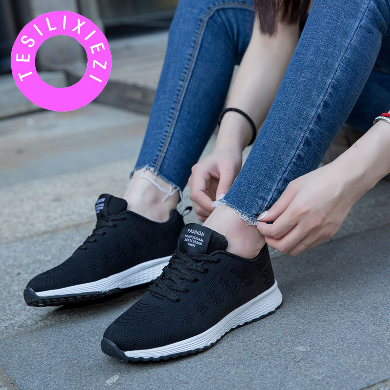 TESILIXIEZI Vulcanize Shoes Woman Sneakers Air Mesh Tenis Breathable Casual Ladies Zapato Fashion Summer Lace-Up Footwear Shoes