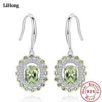 High Jewelry Earrings In Sterling Silver Olive Emerald Earrings For Women Engagement Wedding Gifts