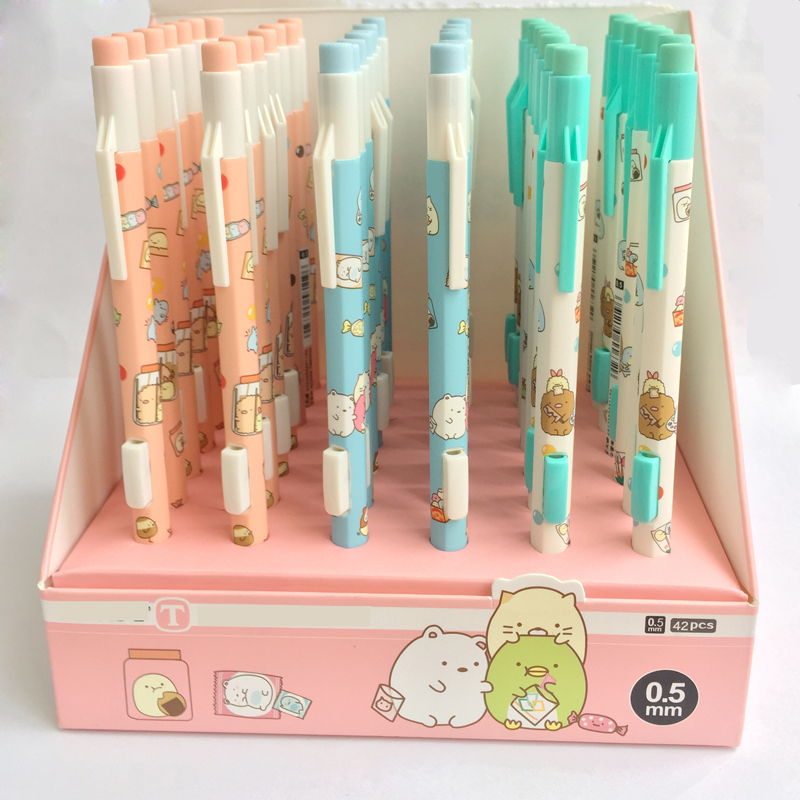 Lytwtw's 1 Piece Cute Cartoon Press Automatic Mechanical Pencil With Eraser School Office Supply Student Stationery Gift