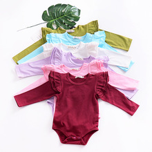 0-2 years baby girls romper flutter tee long sleeve clothes for kids cotton crotch with button children jumpsuit contrast tipping flutter sleeve wrap jumpsuit