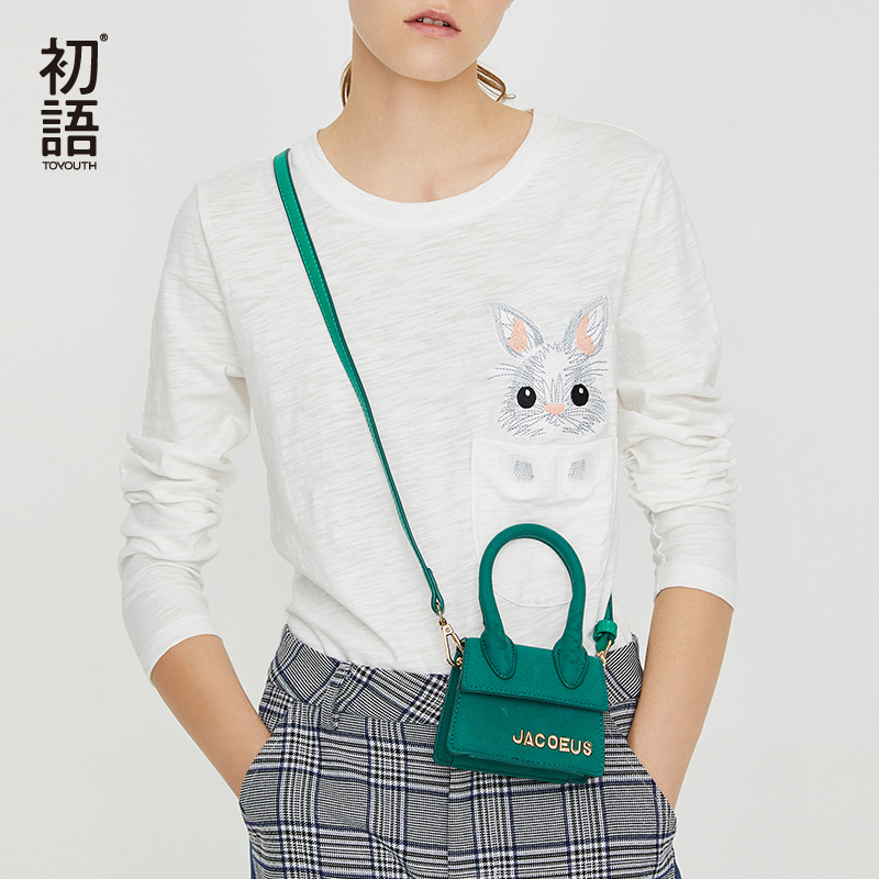 Toyouth White Kawaii Rabbit T Shirts Women Embroidery Long Sleeve T Shirts Korean Casual T Shirt Harajuku Tee shirt femme Tops