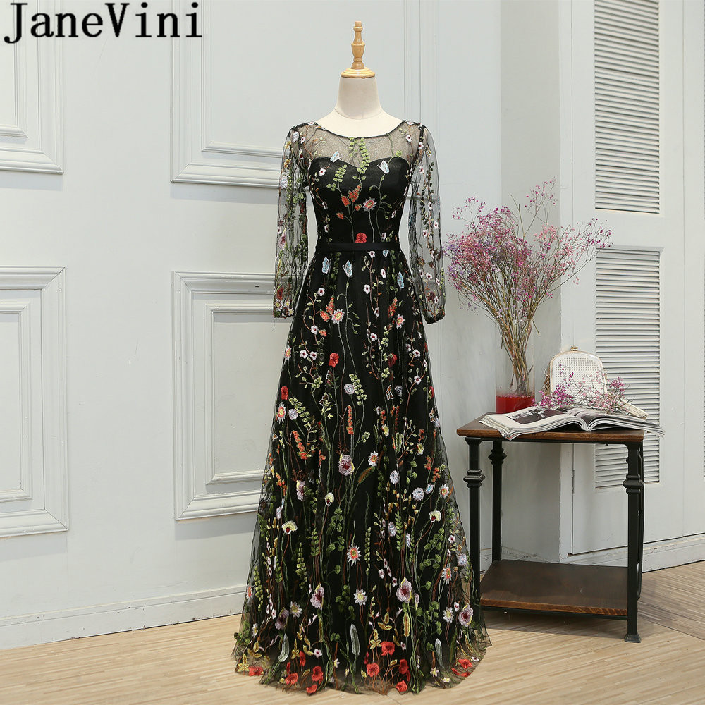 JaneVini New Lace Long Sleeves Gowns Girls   Dresses   For Party And Wedding Floor Length Prom   Bridesmaid     Dresses   Vestido Dama 2019