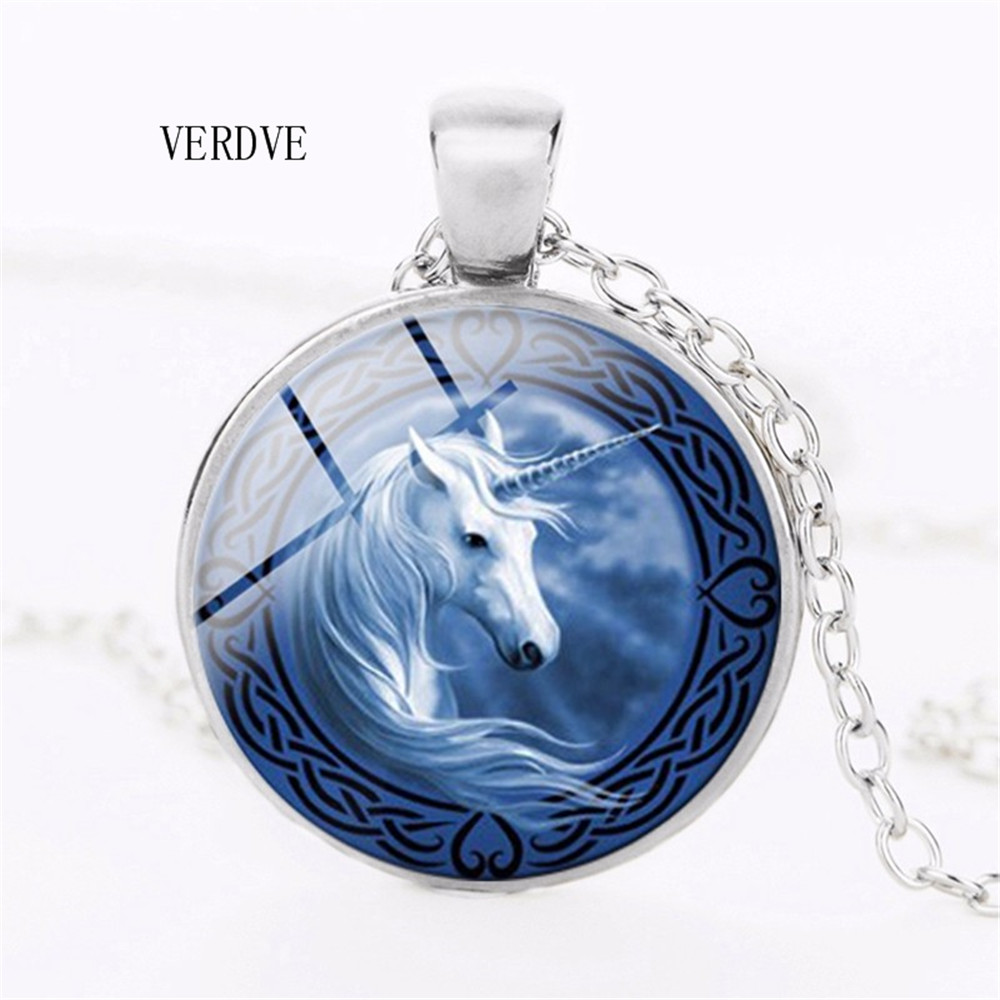 Buy VERDVE high quality fashion cute unicorn accessories pendant necklace 2018 new Christmas gift dog glass crystal pendant necklace for only 1.2 USD