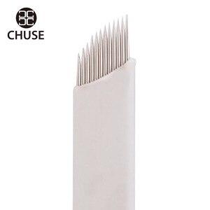 Image 4 - CHUSE agujas de maquillaje permanente S12, cuchillas de bisel manuales para Microblading de cejas, 12 pines para máquina de tatuaje y bolígrafo