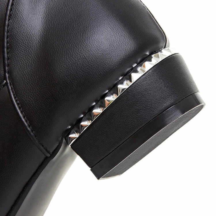 XJRHXJR Black White Color Slim Pu Long Boots Women Shoes Winter Keep Warm Over-the-knee Russia Boots Flat Heel Riding Boots