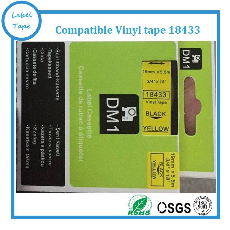 5 pcs/lot ruban vinyle dymo Compatible 3/4 ''x18'' 19mm x 5.5 m noir sur jaune 18433