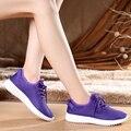 2016 mujeres del verano atan para arriba las mujeres se divierte los zapatos planos respirables Femeninos Zapatilla de deporte de malla de onda Coreana
