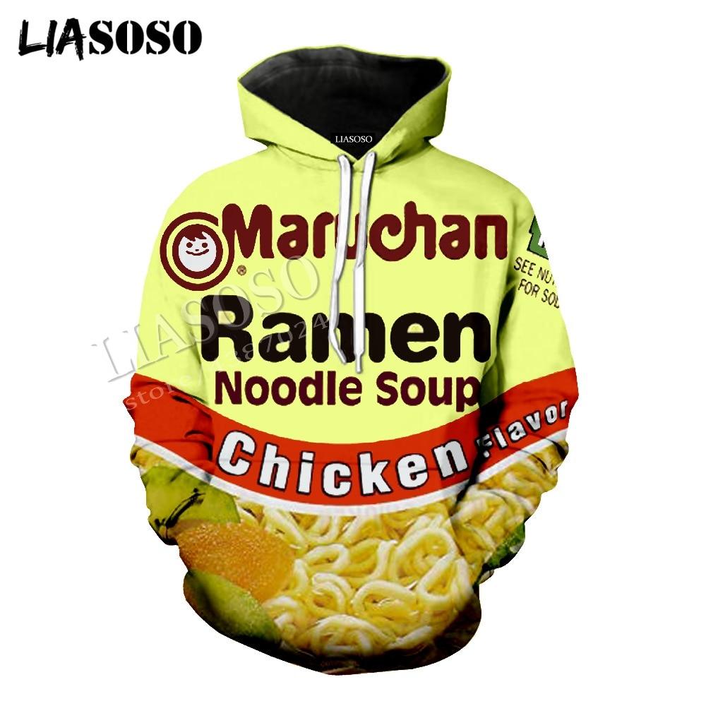 LIASOSO latest 3D print cozy polyester sportswear creative food Ramen noodle soup chicken flavor men women zipper hoodie CX641