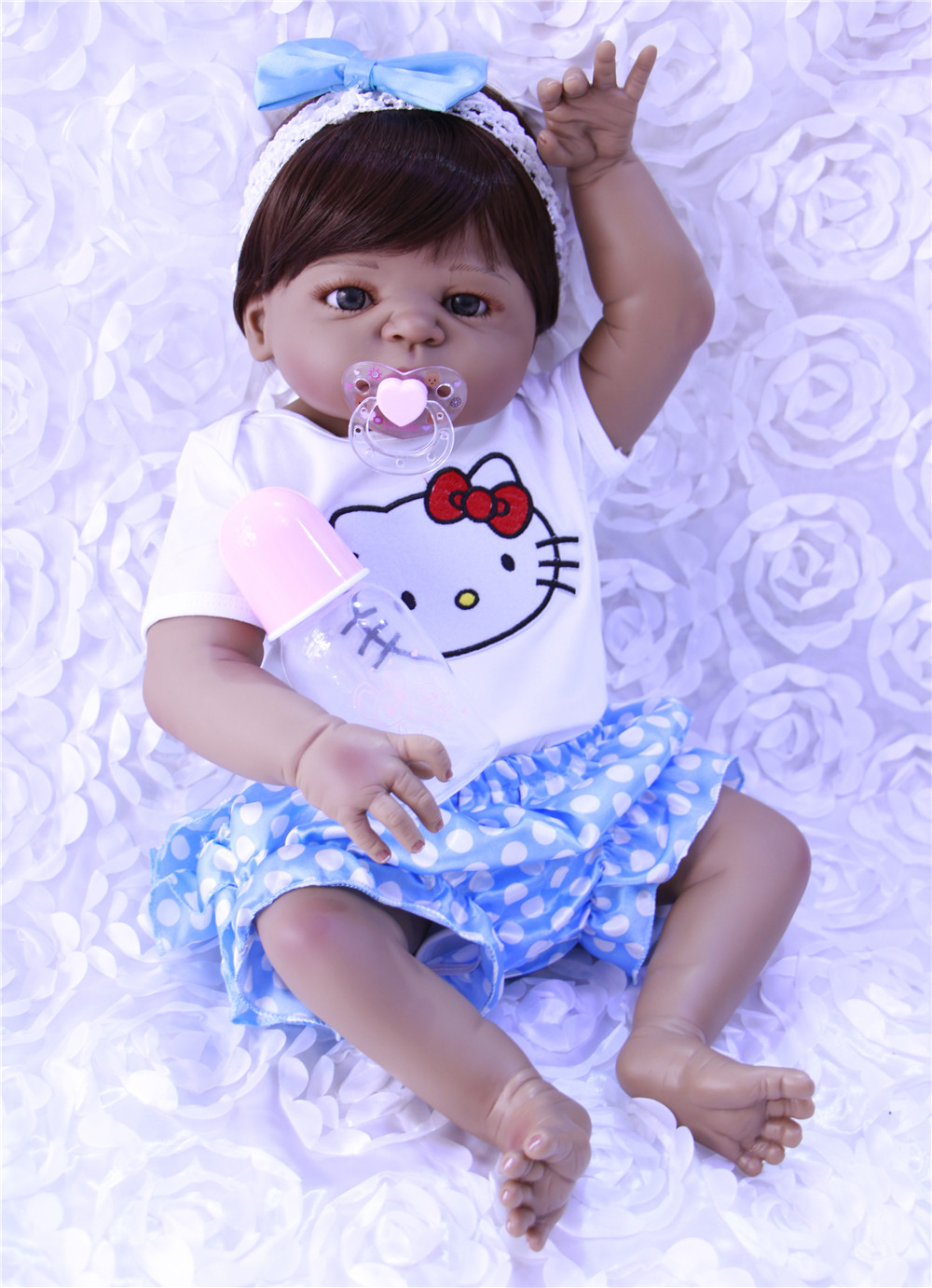 22inch Doll Alive Bebe Reborn Dol With Soft Real Gentle Touch Handmade Full Silicone 55cm Lifelike Newborn Baby Gift Sweet Baby
