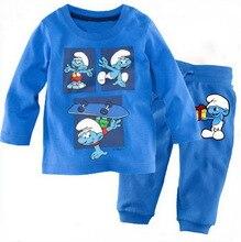 Купить с кэшбэком New Baby clothes Kids cotton children's long-sleeved  Boys Girls  baby cartoon home service suit pajamas