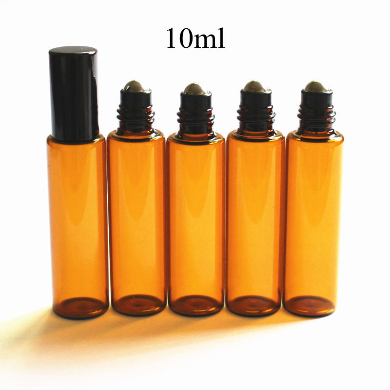 100pcs/lot 10ml Amber Roller Bottle Brown Glass Roll on Bottle with Stainless Steel Ball and Aluminum Gold Silver Cap-in Refillable Bottles from Beauty & Health    1