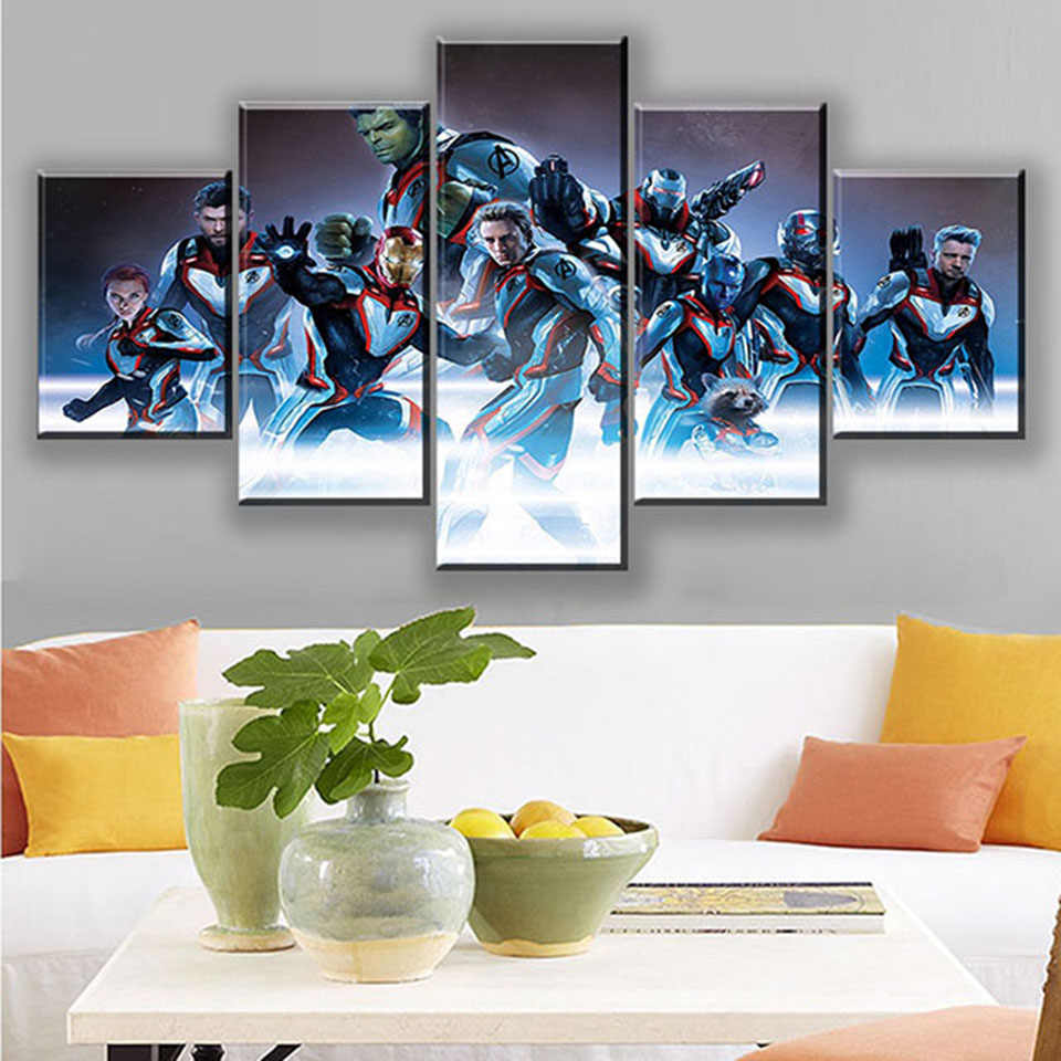 Canvas Wall Art Home Decorative 5 Set the Avengers HD Printed Marvel Movie Poster Paintings Modern Modular Framework For Bedroom