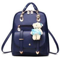 Vintage Casual PU Leather Travel Bags Famous Brand School Backpacks Women Bag Women Backpack Lovely Girls