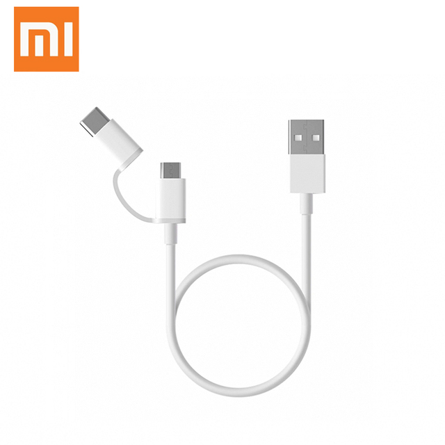 100% Original Xiaomi 2 In 1 Micro USB cables Support Fast charging 30cm Micro USB / Type-C Xiaomi Data Cable