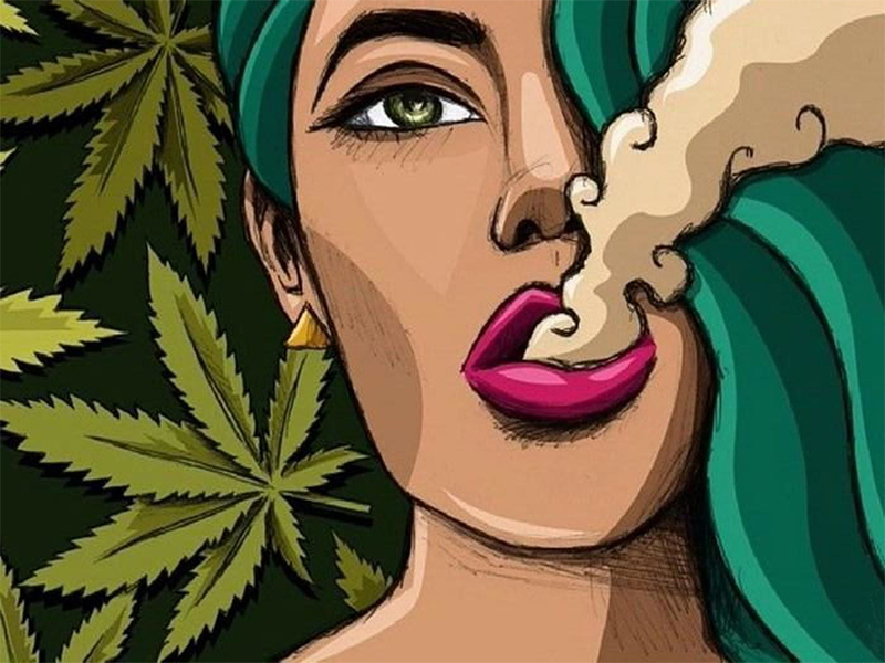 WOMAN WEED COMIC SMOKING POSTER 24x36