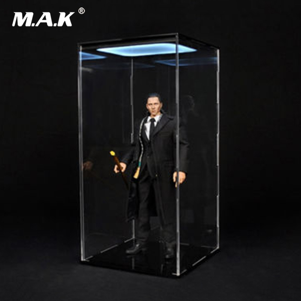 1/6 Scale DIY Figure Accessory Transparent Dust Proof Box & Display Case with Light for 12 Action Figure