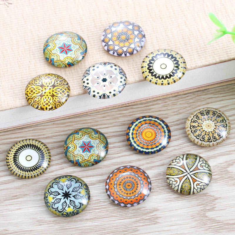 TYLFNL 50 pcs mix kaleidoscope Pattern Round Glass Cabochon 16mm 18mm Dome Flat Back DIY Jewelry Finding S-010108