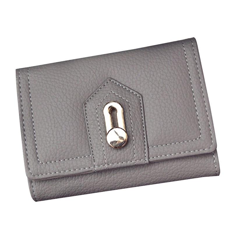 Fashion Women Three fold Button Wallet Female Brief Short Paragraph New Small Purse Lady Clutch Wallets Card Holder Bag