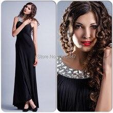 Elegant Black Chiffon Long Maternity Evening font b Dresses b font A Line Scoop Crystal Beaded