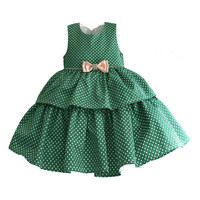 Toddler Baby Girl Dress New 2017 Cotton Satin Green and White Dot Vest Princess Party Tutu Dresses for Kids Girls Outfits GDR243