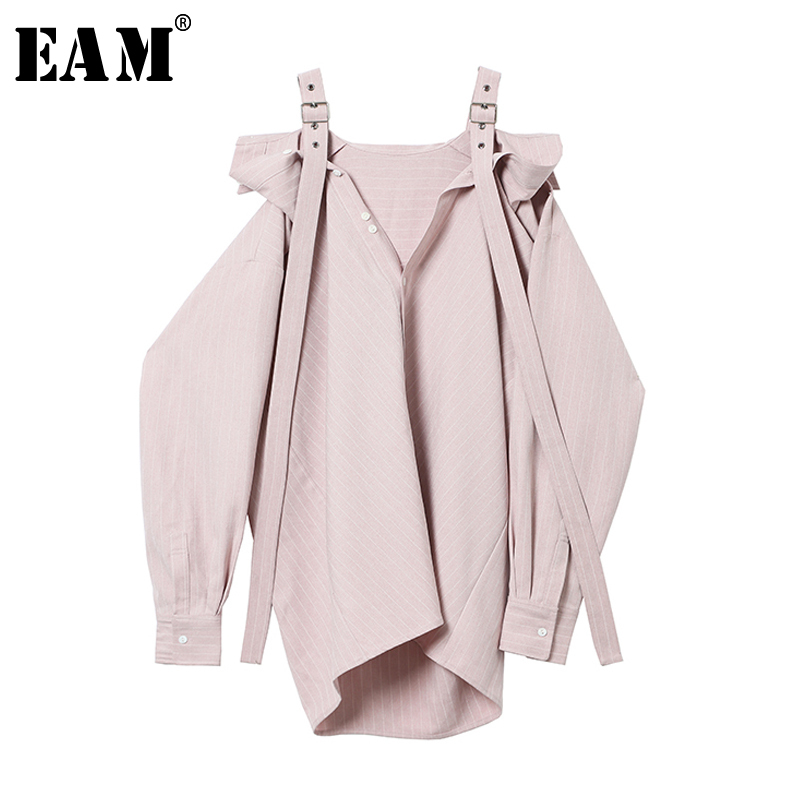 [EAM] 2018 New Summer Slash Neck Stripe Split Joint Long Strapless Temperament Shirt Women Blouse Fashion Tide JF966