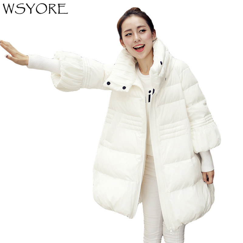 WSYORE   Parkas   2018 New Autumn and Winter Plus Size Women Knitted Sleeve Padded Cotton Jackets Female Outwear Mid-long Coat NS592