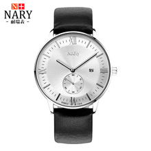 NARY Brand Fashion Men Watch Genuine Leather Strap Luminous hands WristWatch Retro Roman numerals Quartz Watch