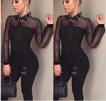 Fashion Women Ladies Sexy Leotard Tulle Long Sleeve Bandge Tops Thin Summer Jumpsuit S-XL Clothes Blouse Top Bodysuits