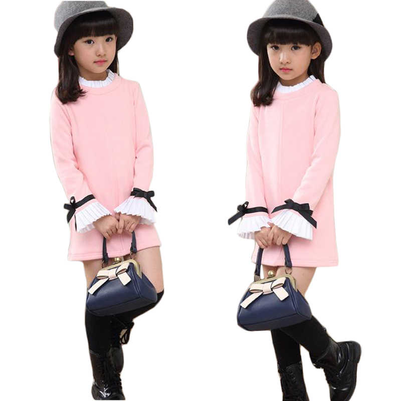 4-14 Year Kids Dresses for Girls Spring Autumn Cotton Girls Clothes 2017 New Long Sleeve Childrens T-shirts Dress Clothing цена 2017