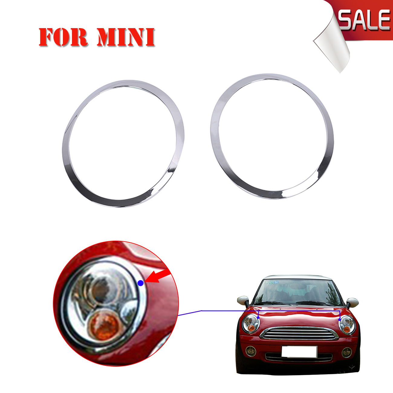 Brand New Abs Car Headlight Trim Ring Chrome Headlamp Cover For Mini Cooper 2007 2017 Replacement 51137149905 906 W144