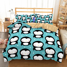 WINLIFE Penguin Print Pattern Kids Bedding Duvet Cover Sets with Pillow Cases for Boys Girls and Teens