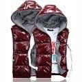 Diseño de los amantes del chaleco brillante chaleco de las mujeres con una capucha chalecos de algodón dama ropa de abrigo rojo zafiro azul negro M-XXL envío gratis