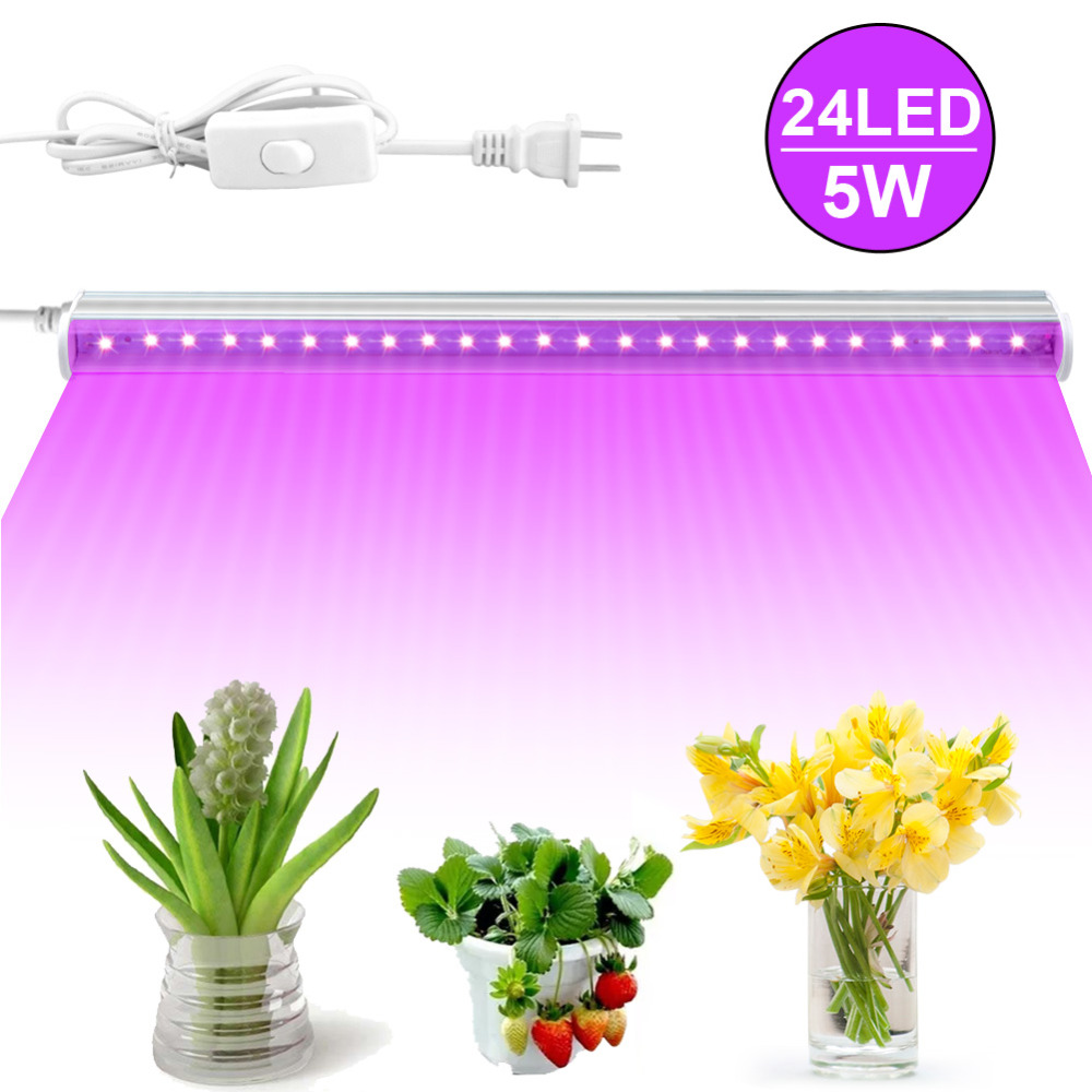 24 LED Grow Light Bar Indoor Hydroponics Plants Flower Grow Lamps Straps for Indoor Greenhouse Grow Tent Plants Light Adapter