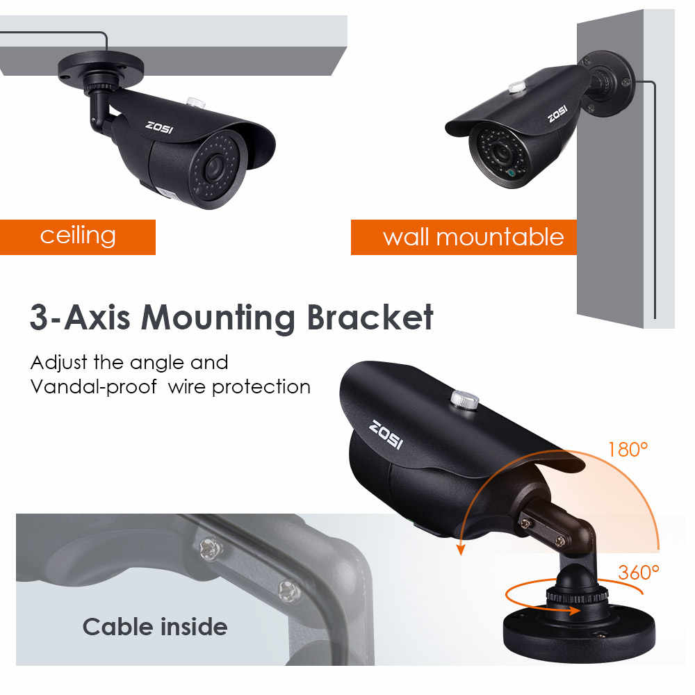 ZOSI HD 960 H 1000TVL CMOS Аналоговый пуля Камера ИК-светодиодов Высокая Разрешение день/ночь Водонепроницаемый Indoor/Outdoor CCTV видео Камера