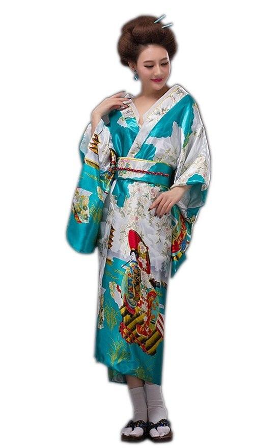 e2a9ac97e € 19.13 41% de DESCUENTO|Vestido de Kimono de seda tradicional de moda  japonesa de señora dorada Yukata con vestido de noche Obi en Prendas de ...