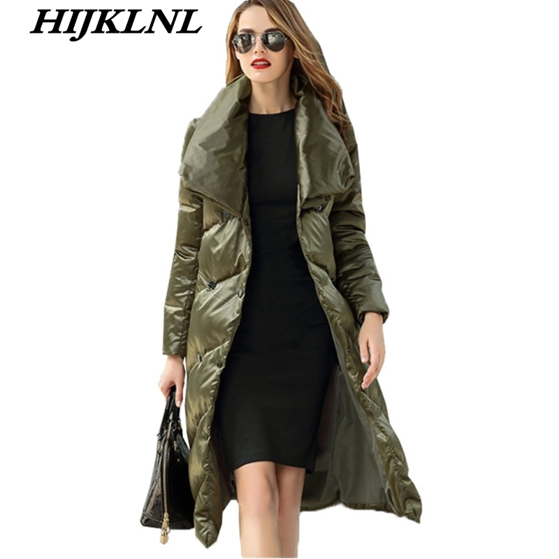 2019 Women Winter   Down     Coat   Slim Solid Large Size Long   Down   Jacket Women Temperament Thicken   Coat   Fashion Warm Outerwear CW072