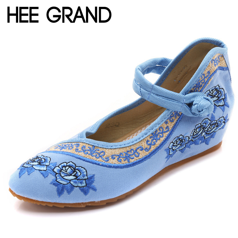 HEE GRAND Embroider Casual Platform Canvas Shoes Woman Solid Loafers Slip On Creepers Ladies Flats 4 Colors Size 35-41 XWX6703 akexiya casual women loafers platform breathable slip on flats shoes woman floral lace ladies flat canvas shoes size plus 35 43