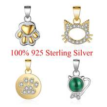 100% 925 Sterling Silver Pet Cat Cute Cat Paw Charm Pendant for women's necklaces DIY Jewelry Sterling Silver Charms Gift(China)