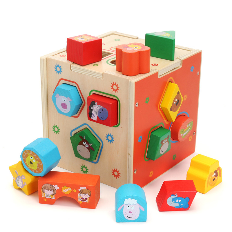 Wooden Kids Montessori Educational Toy Animal Geometric Blocks Assemblage Game Grooming Healthcare Kits