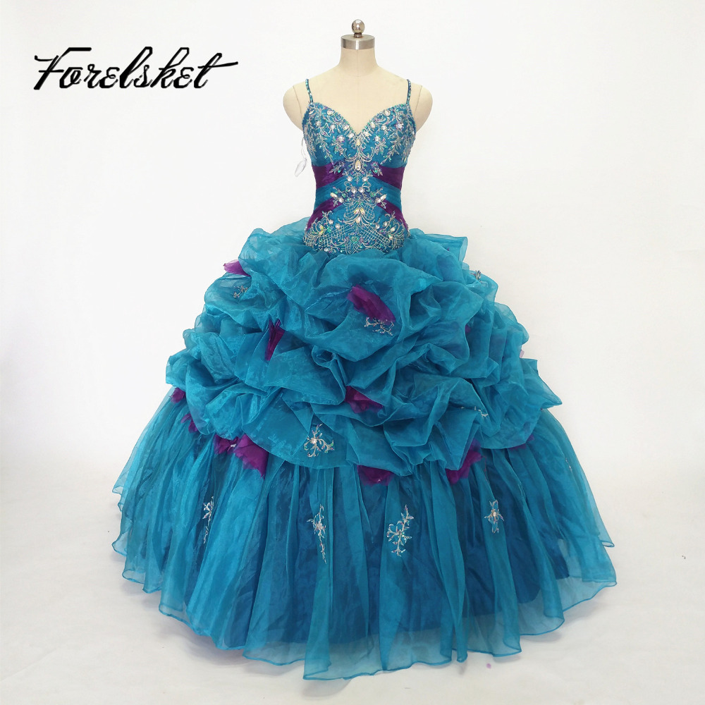 Vintage Light Aqua Color Sweet 15 Year Quinceanera Dresses 2017 Off The Shoulder Beaded Top Pleats Organza Birthday Party Dress