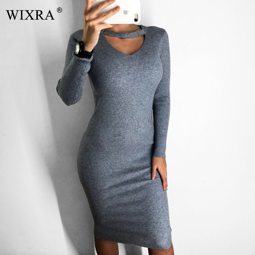 Wixra 2018 Autumn Winter Halter Long sleeve V-Neck Knitted Sweater Dresses Casual Women's Bodycon Dress For Women