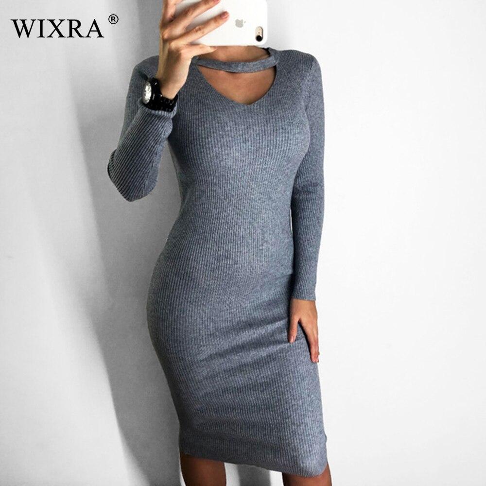 Wixra 2018 Herbst Winter Halter langarm V-ausschnitt Strick Pullover Kleider Casual frauen Bodycon Kleid Für Frauen