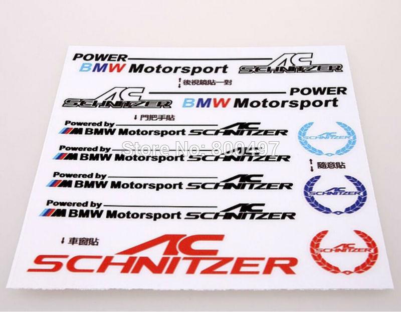 10 x New Style AC Schnitzer Window Rearview Mirror Door Handle Car Body Stickers Decals for BMW X1 X3 X5 X6 5 Series 7 Series