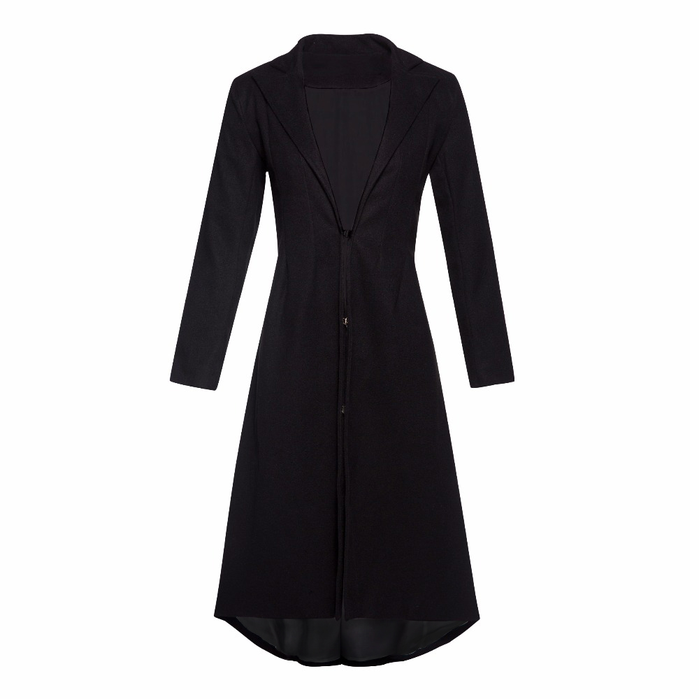 Black Lining Long Wool Coat Women Office Wear Plus Size ...