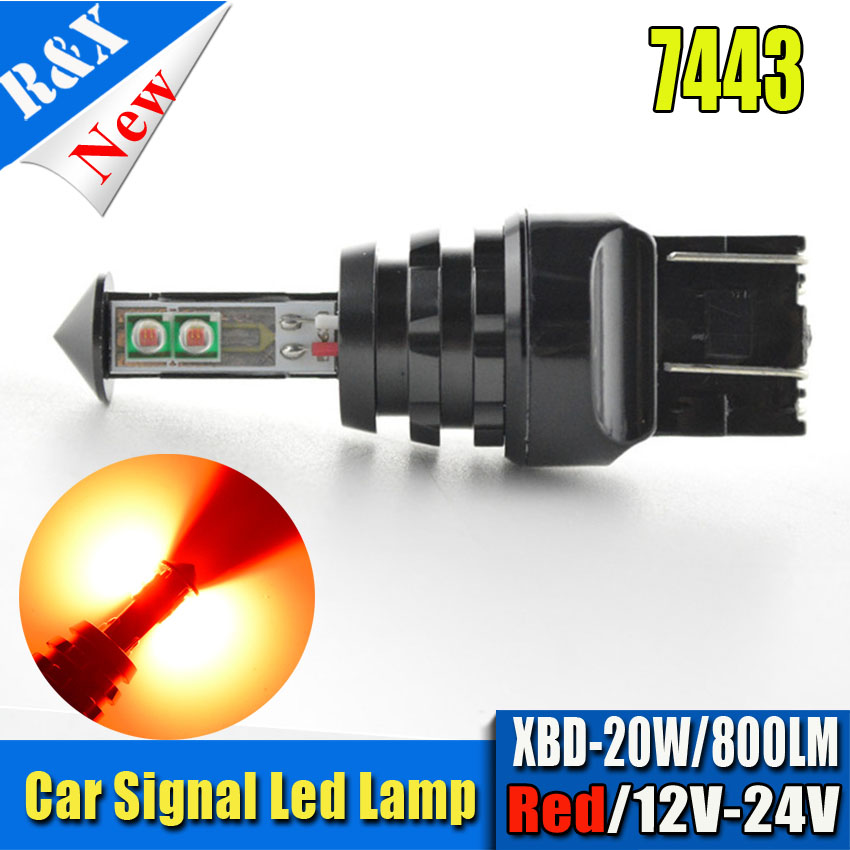 2pcs t20 w21/5w 7443 7440 20W Led CANBUS car Fog lights Daytime Running Bulb auto Lamp parking car light source Amber Red W21W