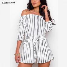 Simple Casual Off Shoulder Playsuit Sexy Striped Rompers Women Elastic Waist Drawstrings 2019 New Summer Beach