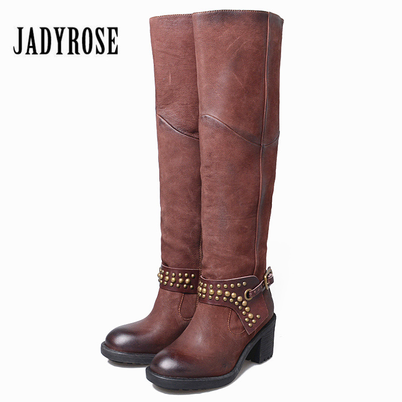 Jady Rose Retro Rivets Studded Women Knee High Boots Slim Fit Genuine Leather Botas Chunky Heel Riding Boots Female Long BootsJady Rose Retro Rivets Studded Women Knee High Boots Slim Fit Genuine Leather Botas Chunky Heel Riding Boots Female Long Boots